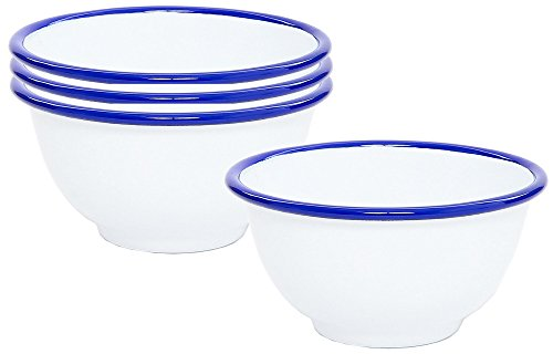 Enamelware Footed Bowl, 16 ounce, Vintage White/Blue (4)