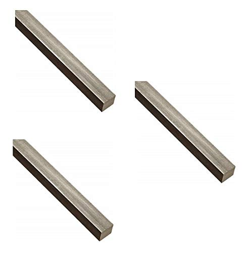 18-8 Stainless Steel Key Stock, Undersized Tolerance, 3/16'' Thickness, 3/16'' Width, 12'' Length (Pack of 1) (Тhrее Расk)