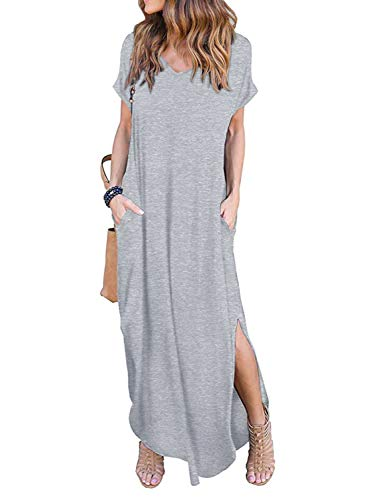 Women's Summer Maxi Dress Casual Loose Pockets Long Dress Short Sleeve Split ()