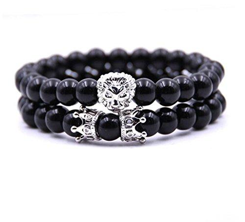Joan Nunu Handmade 8mm Stone Beads Bracelets Set Silver King Crown Tiger Charm Fashion Jewelry for Men Women
