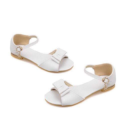 Puntera vestir Tacón Blanco Sandalias de Abierta AalarDom Mujer Pu Mini Hebilla Sólido qvxnwap5I