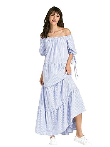 da Lunghe Righe Eleganti Festa Senza a Partido Blu Sera Vestiti da Abito Spiaggia Haroty Vestito Spalline Donna BqwvEUE