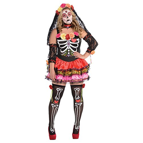 (AMSCAN Day of the Dead Senorita Halloween Costume for Women, Plus Size, with Included)