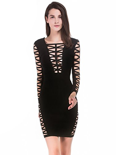 Alice Mujer Cut Rayon Dress Vestido Bandage Negro Vestido Bodycon amp; Mujers Sleeve Long Club para out Elmer Party rwrapq