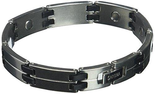 (Sabona Men's Black/Steel Magnetic Link Bracelet, L/XL, 1 Ounce)