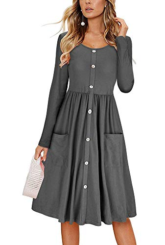 Dress Casual Grey High Pockets Pleated V Waist Down Sleeve Midi Loose Camisunny Long for Women Neck Button waq40IORx