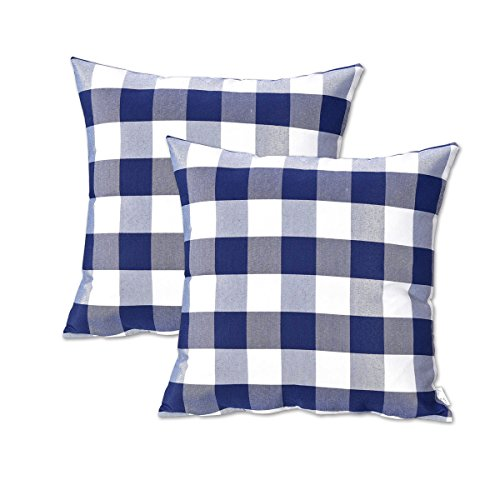 NATUS WEAVER 2 Pcs Navy White Buffalo Checkers Plaids Linen Square Throw Pillow Cover Decorative Cushion Shams Pillowcase for Couch by, 18 x 18
