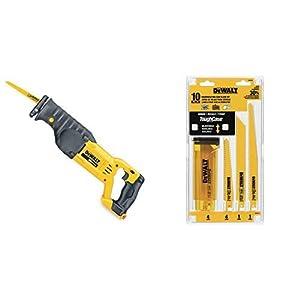 DEWALT DCS380B 20-Volt MAX Li-Ion Reciprocating Saw (Tool Only) with DEWALT DW4898 Bi-Metal Reciprocating Saw Blade Set with Case, 10-Piece