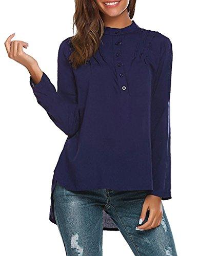V Chemise Shirt Casual Navy Bevalsa Femme Top Manches paule Classique Blouse Longues Col Fluide Chic Casual Bxqwfxz8