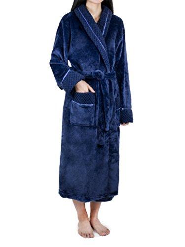 Robe with Satin Trim | Luxurious Plush Spa Bathrobe Waffle Design ()