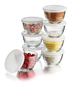 Libbey 6.25-Ounce Small Bowls with Plastic Lids, 16-Piece Set