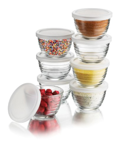 Libbey 6.25-Ounce Small Bowls with Plastic Lids, 16-Piece Set (Oven Safe Small Glass Bowls compare prices)