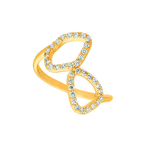 (14K Yellow Gold Diamond Freeform Ring - 0.35ctw. Diamond)