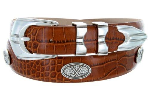 Golf Concho Belts (Silverwood - Men's Italian Calfskin Designer Dress Belt with Golf Conchos (36 Alligator)