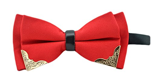 MENDENG Men's Gold Metal Burgundy Black PU Leather Satin Bow Ties Formal - Tie Leather Satin