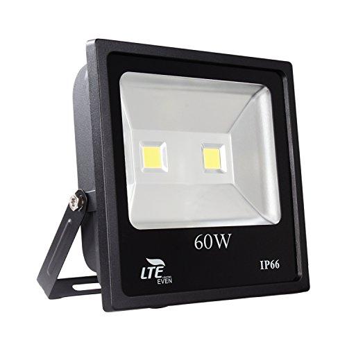 60W LED Flood Light Outdoor Security Light,4500 Lumen,6000K,Daylight White, IP66 Waterproof ,LTE Super Bright Floodlight for Garage,Garden Yard, Party, (60 Led Floodlight)