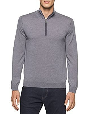 Calvin Klein Men's Merino End on End Check Quarter Zip Sweater