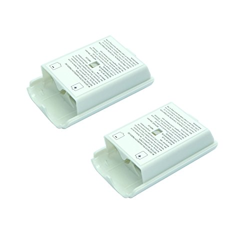 2x White Battery Cover For Microsoft Xbox 360 Wireless Controller (Xbox 360 Rechargeable Battery Pack Not Working)