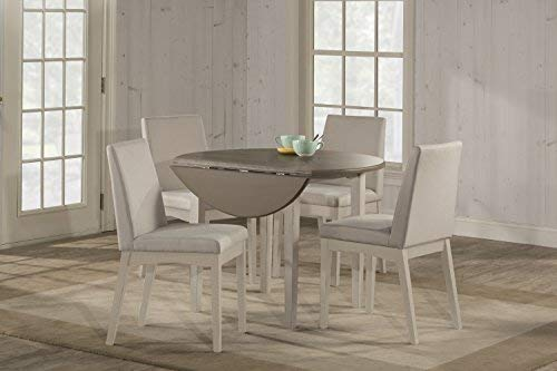Hillsdale Furniture 4542DTB5C3 Hillsdale Clarion Round Drop Leaf Upholstered Chairs, Sea White 5 Piece Dining Set