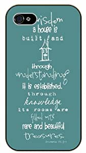 iPhone 6 By wisdon a house is built and through understanding it is established, through knowledge its rooms are filled - Proverbs 24:3-4 - Bible verse black plastic case / Christian Verses