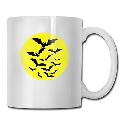 PIHJE mugs Halloween Bats 2 Tone Vector Tea Cup Novelty Gift for Birthday