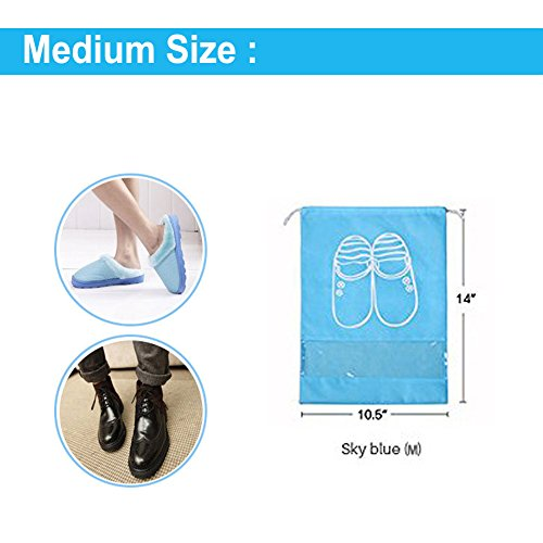 Pack of 10 Dust-proof Breathable Travel Shoe Organizer Bags for Boots, High Heel - Drawstring, Transparent Window, Space Saving Storage Bags, Medium Size, Sky Blue by WESTONETEK (Image #2)