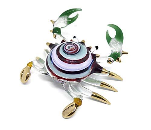 NaCraftTH Glass Blown Colorful Crab Murano Figurines Glassblowing Artwork Animal Handicraft Figure Fish Tank Aquarium Decorations