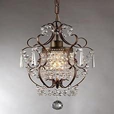 "Whse of Tiffany RL4025BR Rosalie 1-Light Antique Bronze 11"" Crystal Chandelier"