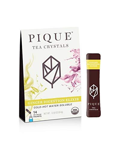 Pique Tea Organic Ginger Digestion Elixir - Gut Health, Fasting, Calm - 1 Pack (14 Sticks)