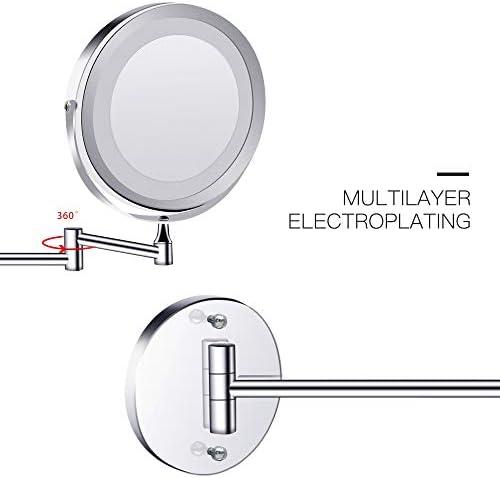 主導化粧鏡を備えたライト折りたたみウォールは、バニティミラー、1X / 3X拡大鏡ダブルタッチ明るいアジャスタブルバスルームの鏡を両面マウント