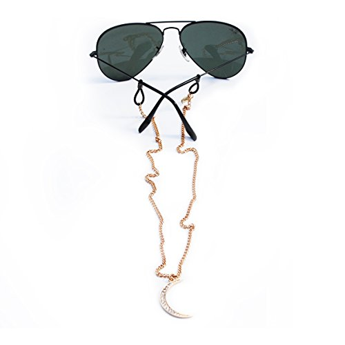 Sintillia Moon Backlace Statement Sunglass Strap, Glasses Chain, Eyeglass Cord, Gold (Gold with Clear - Cute Croakies
