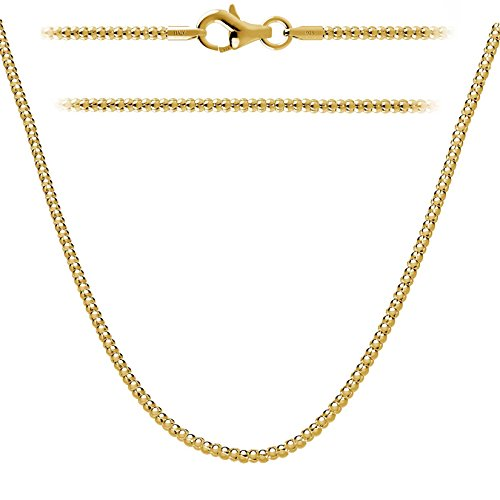 - Kezef Creations Yellow Gold Plated Italian Sterling Silver 2mm Coreana Popcorn Chain Necklace 42 Inch