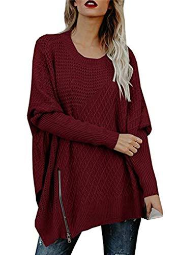 Rotondo shirts Tops Pullover Vino Sweater Primavera Collo Sciolto Maglieria T Lunga Jumper Rosso Donne e Autunno OUFour Manica Maglietta Casual Maglioni qXzwOPwHa