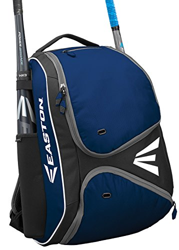 EASTON E210BP Bat & Equipment Backpack Bag | Baseball Softball | 2019 | Navy | 2 Bat Sleeves | Smart Gear Storage Shelf | Vented Shoe Pocket | Valuables Pocket | Fence Hook
