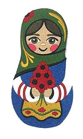 Amazing Custom Arte ruso [Muñeca Matryoshka con Poppies] Parche bordado para planchar o coser