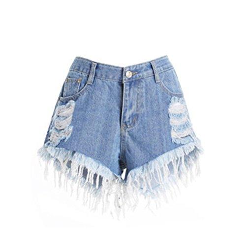 Oudan Femme Shorts Dechir Vintage Taille Haute Slim Jeans Trou Amincissant Bleu