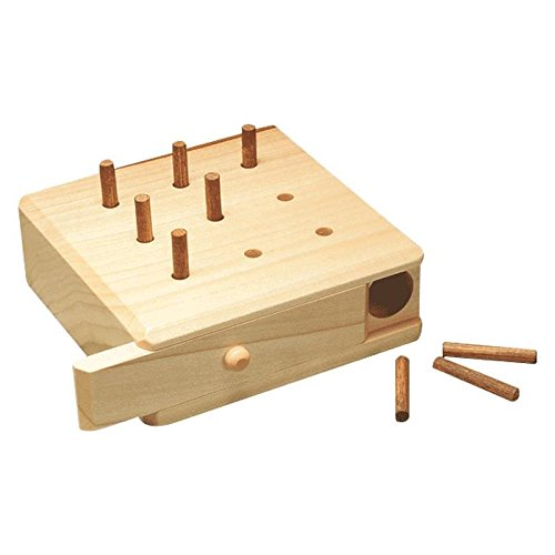 9 Hole Pegboard | Wooden Box Peg Board for Finger Dexterity, Physical Therapy, Fine Motor Coordination, Sensory Rehabilitation