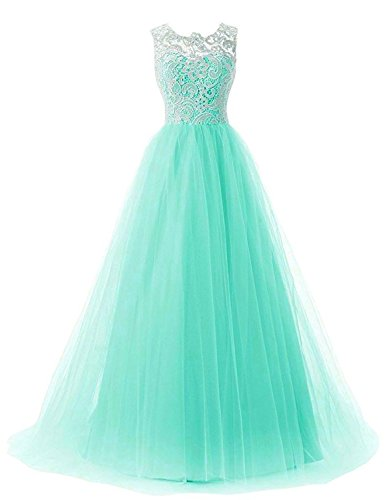 OYISHA Women's Long Lace Prom Evening Dress Chiffon Bridesmaid Formal Gowns AFM50 Aqua 16