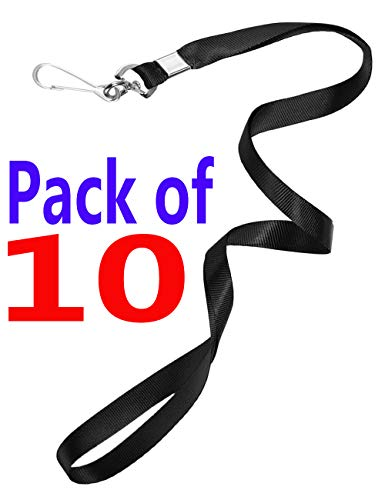 (Black Lanyard Swivel Hook Clip Bulk 10 Pack 33 inch Badge Lanyards with Clip Lanyards Bulk Office Neck Nylon Flat Lanyard with Badge Clip Black lanyards for id Name Badges Pass Holder Key Chain)