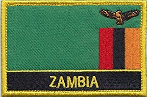 "Zambia Flag Patch / African Embroidered Travel Patch Sew-On (Zambian Iron On w/ words, 2"" x 3"")"