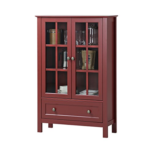 Contemporary Wood Display Cabinet (Cottage Modern Red Wood Accent Display Storage Cabinet Double Glass Doors Drawer - Includes Modhaus Living Pen)