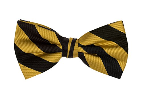 Jacob Alexander Stripe Print Men's College Striped Pretied Bowtie - Gold Black (Bow Stripe)