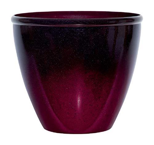 Suncast Seneca 16 Inch Ombre Decorative Resin Plant Flower Planter Pot, Red/Plum (Garden Large Pots Outdoor)