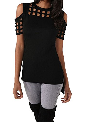 Womens Sexy Hollow Out Caged Cold Shoulder Top T-shirt Black Large