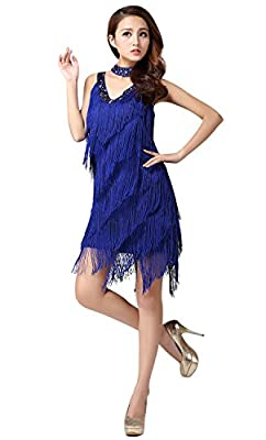 ZX Women's Beaded Deep V 1920s Gatsby Fringed Flapper Latin Dance Dress