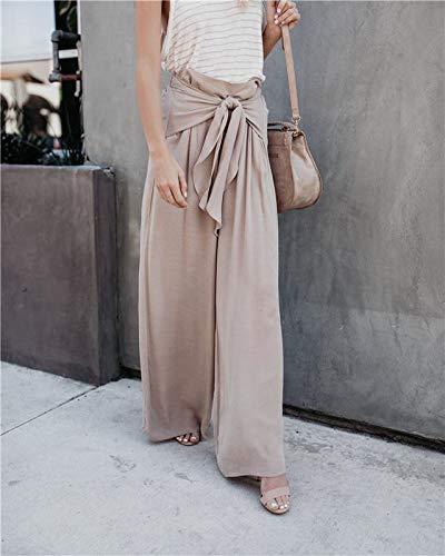XL Size FAIYIWO Women Khaki Wide Leg Chiffon Pants High Waist Tie Front Trousers Palazzo OL Elegant Pants FAIYIWO Grey