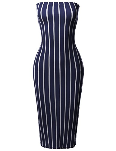 Tight Fit Pinstripe Print Body-Con Tube Midi Dress Navy 3XL