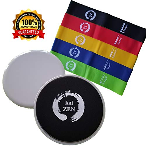 Kaizen Resistance Loop Bands And Sliding Discs Set: Fitness Gear For Full Body Workout, Elastic Latex Bands For Men And Women, Double-Sided Gliding Discs For Core Exercises And Strength Training by Kaizen