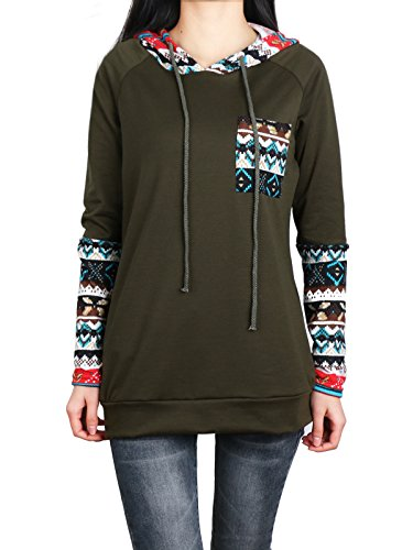 Hooded Sweatshirt Women,Anna Smith Lounge Hoodie Women Geometrical Print Round Collar Long Sleeve Loose Fitting Top with Pocket Comfy Spandex Soft Polyester Stretchy Patchwork Color Block M Army Green ()