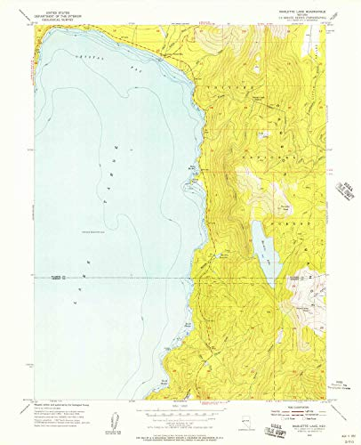 YellowMaps Marlette Lake NV topo map, 1:24000 Scale, 7.5 X 7.5 Minute, Historical, 1955, Updated 1957, 27 x 21.9 in - Tyvek